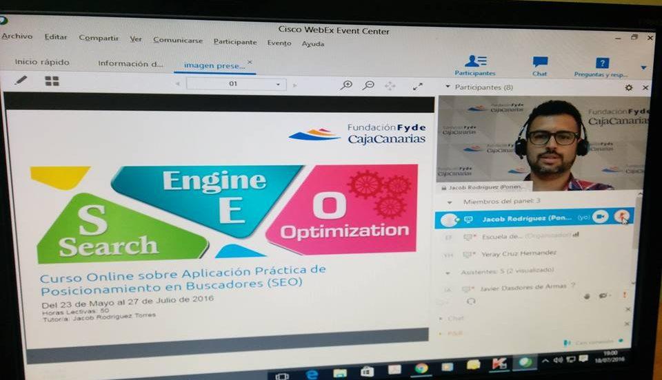Curso Onlie sobre posicionamiento web SEO y su aplicación práctica - Fundación Fyde 2016 - Jacob Celso Rodríguez Torres